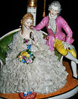 Antique German DRESDEN LACE COURTING COUPLE LADY GENT Porcelain Lamp Figurine