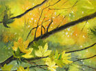 ORIGINAL OIL PAINTING FLOWERS TEXTURED ART YELLOW BIG TREE BRANCH GREEN FOREST