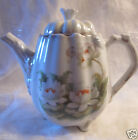 Antique Vintage White Orange Water Lily China Teapot Flower Lid Signed Genicond
