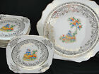 Vintage Eastern China USA 22K Gold Cake Plate Set Cross Stitch Sampler Design