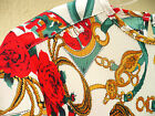 SZ S M VTG 80S EQUESTRIAN HORSE BRIDLE MICRO PLEAT SCARF PRINT RED BLOUSE FLORAL