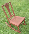 Antique Beautiful Wood w/ Wicker Seat Bottom Rocking Chair Chicago Pick Up Only