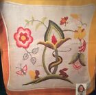 Vintage ERICA WILSON Ecology JACOBEAN Crewel Embroidery PILLOW KIT on Rayon/Silk