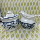 222 FIFTH ADELAIDE  BLUE WHITE BIRD TOILE Creamer+Sugar Bowl ~NEW ~