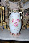 LARGE NIPPON JAPAN OLD PARIS STYLE VASE DECORATED WITH ROSES AND SCROLL WORK