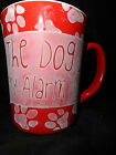 Mug The Dog Is My Alarm Clock Stoneware Red with White Paw Prints Coffee