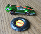 1970 MATTEL HOT WHEELS BUGEYE RED LINE CAR in LIGHT GREEN with BUTTON