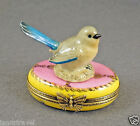 NEW HAND PAINTED AUTHENTIC FRENCH LIMOGES BOX CUTE BLUE BIRD ON PINK BOX