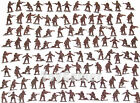 120 pcs Military Plastic Toy Soldiers Brown 3cm Figure Army Men
