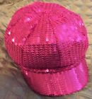 Disney Parks Pink Sequined Cap Newsboy Cabbie Hat Mickey Mouse Logo Girl Youth
