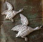 Stunning Pair of Vintage Cast Iron FLYING GEESE Duck Wall Ornament  ART DECO