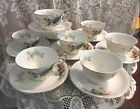 8 Grace China Wood-Lily Footed Tea Coffee Cups Saucers Set Floral Ivory Gold VTG