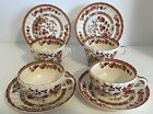 SPODE INDIAN TREE - 4 Cup and Saucer Sets - Orange-Rust, England