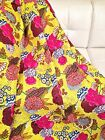 Yellow Floral Kantha Work Cotton Queen Size Bedspread Bedcover 90