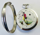 Wonderful Continental Antique Painted Face Silver Verge Fusee Pocket Watch