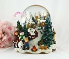 Purple rain forest X'mas village church music box snow globe