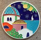 Vietri pottery-6 inch tile Amalfi Coast scenery.Made/Painted by hand in Italy