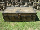 Vintage STEAMER Trunk Luggage 1920's? MONSON TRUNK FACTORY Fargo North Dakota