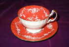 Vintage AYNSLEY England Bone China ORANGE Tea Cup and Saucer White Roses Gold