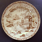 RARE Antique WILLOW Plate - BROWN Pottery Staffordshire Japanese Old Blue