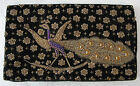 c.1940s INDIAN TEXTILES Hand Embroidered PEACOCK Evening Bag or Clutch - BENARES