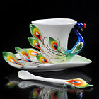 Stunning Ceramic Green Peacock Feathers Coffee Tea Set Cup/Saucer Daily Use