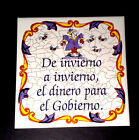 VintageTalavera Ceramic Tile ''Spanish Proverb''Handpainted 6''x 6'' Made Spain