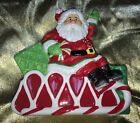 Cute Fitz and Floyd Peppermint Santa Christmas Napkin Holder!  COLORFUL!  FUN!!