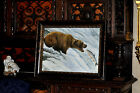 Spectacular Vintage  Grizzly Bear catching Fish  painting well known artist