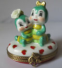 VERY RARE CATERPILLARS IN LOVE LIMOGES FRANCE PEINT MAIN  PORCELAIN TRINKET BOX