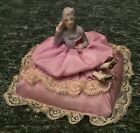 Beautiful Antique Porcelain Flapper Half Doll on a Pin Cushion with Legs RARE