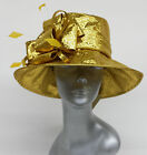 Lady Kentucky wedding church dress derby hat organza Metallic, Adjustable-Gold