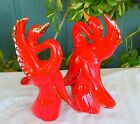 Vintage Pair of Maurice of California Pottery Ceramic Birds Red Gold Swans LOOK