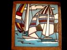 VINTAGE 1983 FIESTA NAUTICAL SAILING SHIPS HAND PAINTED CERAMIC TILE ART