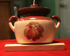 Vintage McCoy Double Handled Bean Pot w/ Lid - Fruit Pattern 341