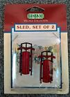 New! Vintage 1995 Lemax Village Collection Set of 2 Sleds Item # 54104