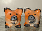 Pepper Shakers Hand Painted Red Boar Occupied Japan