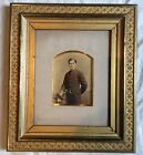 BEAUTIFUL GILT GESSO FRAME WITH ANTIQUE PHOTO OF HANDSOME YOUNG MAN CIRCA 1870