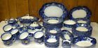 82 Pc Set 1880s Wood & Sons Lakewood Flow Blue China SVC for 10 + Serving Pieces