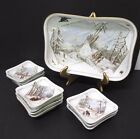 c.1880 LIMOGES GERARD, DUFRAISSEIX & MOREL PORCELAIN SCENIC ICE CREAM SET 11 PC