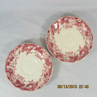 Johnson Brothers Strawberry Fair saucers set 2 white pink berries leaves flower