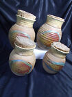 SET of 4 - Beautiful ART STUDIO Handmade POTTERY CANISTERS w/Cork Lids - SIGNED