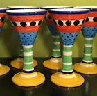 8 Herman Fogelin Pottery Ceramic Wine Goblet glasses Deruta Italy Hand Painted