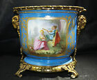 French Gilt Bronze Mounted Sevres Style Navy Blue Porcelain Cache-Pot late 19thC