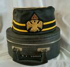 VINTAGE 32ND DEGREE FREEMASON MASONIC SCOTTISH RITE HAT BLACK GOLD W/BOX