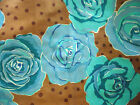 OLIVE ROSE - BLUE BROWN VALORI WELLS FREE SPIRIT HOME DEC FABRIC COTTON BTY