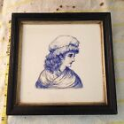 Antique Minton Hollins & Co Patent Tile Works Stoke on Trent Blue & White Lady