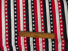 PATRIOTIC AMERICAN RED WHITE & BLUE STARS & STRIPES COTTON QUILT FABRIC BTY