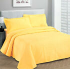 Queen/King 3 pc Solid  Embossed bedspread Bed Cover New Over size Yellow