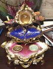 Antique Old Paris Porcelain Inkwell w/ Hand-Painted Relief Birds